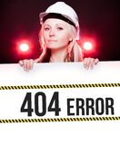 404 error sign on information poster, worker woman Stock Photo