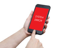 Error on smartphone screen in people hand Royalty Free Stock Image