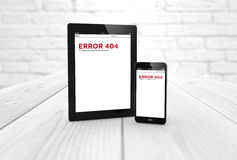 Error 404 tablet and smart phone Stock Images