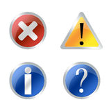 Error web button. Red critical error icon, exclamation icon, question mark icon over white background Stock Photos