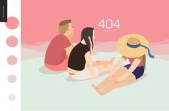 404 error web page template - picnic. 404 error web page template with family on pink background - flat cartoon vector illustration of family watching sunset Royalty Free Stock Photo