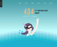 Error web page template - waving girl in diving mask in the water Stock Images