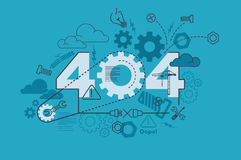 404 error website banner concept with thin line flat design royalty free illustration