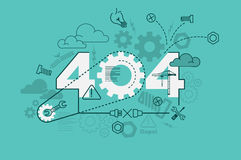 404 error website banner concept with thin line flat design Stock Photography