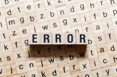 Error word concept on cubes stock photography