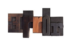 Error, word written in letterpress type blocks Royalty Free Stock Images
