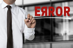 Error is written by businessman background Royalty Free Stock Photos