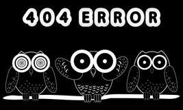 Error 404 y búhos Foto de archivo