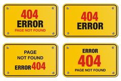 Error 404 yellow sign - rectangle sign Royalty Free Stock Photography