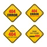 Error 404 yellow signs Royalty Free Stock Images