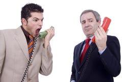 Errore di comunicazione fra l'uomo d'affari due Fotografia Stock