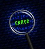 ERRORE nel verde rivelatore nel codice macchina blu del computer Fotografie Stock