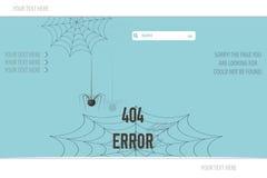 Errore non trovato 404 della pagina, ragno dell'illustrazione e ragnatela Fotografie Stock