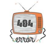 404 errore, vecchia TV divertente con lo schermo di impulso errato, illustrazione di vettore Immagine Stock