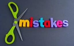 Errores cortados Fotografía de archivo libre de regalías