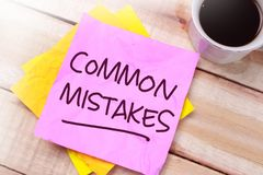 Errori comuni, citazioni ispiratrici motivazionali di affari immagine stock