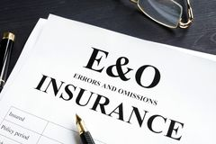 Errors and omissions insurance E&O form. Professional liability. Concept stock photos