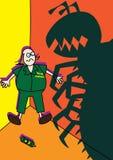 Erros de combate do gigante do monstro do trabalhador do controlo de pragas Fotografia de Stock
