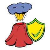 Erruption del vulcano e schermo giallo con l'icona del segno di spunta illustrazione vettoriale