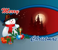 Erry Christmas, design background with Snowman and Gift boxes Royalty Free Stock Photography