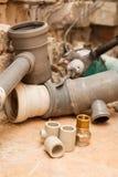 Ersatz der Wasserversorgung und der Kanalisation Stockfotografie