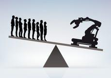 Ersatz des Mannes durch die Maschine in der Firma für eine bessere Leistung vektor abbildung