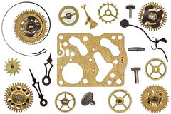Ersatzteile für Uhr Metallgänge, Zahnräder und andere Details Stockfotografie