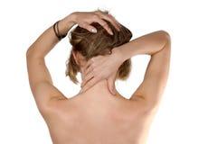 Erschöpfte Mädchen Selbst-massage stockbild