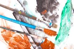 Erschöpfter Malerpinsel Lizenzfreie Stockbilder