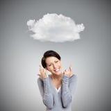 Erscheinen der jungen Frau kreuzten Finger Stockfotos