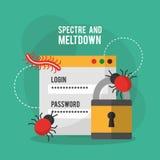 Erscheinung und Einschmelzenanmeldungspasswortsicherheitsvirus Stockfoto