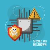 Erscheinung und warnende Sicherheit der Einschmelzenmotherboard-Schaltkreistechnik Gefahren Lizenzfreie Stockbilder
