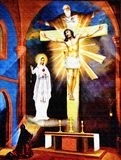 Erscheinung von St. Faustyna Kowalska Lizenzfreies Stockbild