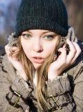 Erschrockene Frau. Nahaufnahme-Portrait Lizenzfreie Stockfotos