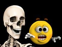 Erschrockene Karikatur mit Knochen 4 Stockfoto