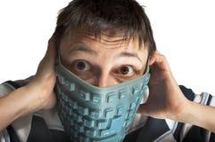 Gummitastatur auf Gesicht stockbilder