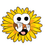 Erschrockene Sonnenblumenkarikatur Stockfoto