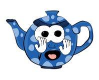 Erschrockene Teekannenkarikatur Stockfotografie