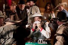 Erschrockener alter Cowboy abgefangener Betrug Lizenzfreies Stockfoto