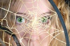 Erschrockener Blick durch Web der Spinne Stockbilder