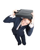 Erschrockener Geschäftsmann Stockfoto