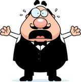 Erschrockener Karikatur-Kellner Lizenzfreies Stockfoto