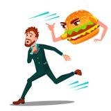 Erschrockener Mann, der weg von Hamburger-Vektor läuft Lokalisierte Karikaturillustration lizenzfreie abbildung