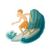 Erschrockener Surfer Lizenzfreie Abbildung