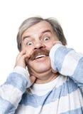 Erschrockenes fälliges Mannportrait getrennt auf Weiß Lizenzfreies Stockfoto