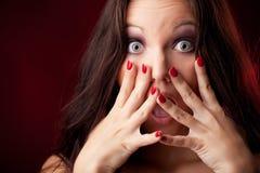 Erschrockenes Gesicht der Frauen Stockbild