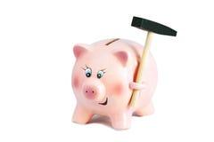 Erschrockenes hübsches Sparschwein mit Hammer, Inflation auf einem weißen Backg Lizenzfreies Stockbild