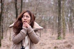 Erschrockenes japanisches Mädchen mit Kamera in einem dunklen Wald Stockbilder