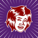 Erschrockenes oder entsetztes Frauengesicht der Weinlese Stockbilder