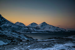 Ersfjordbotn Mountains. Simply mesmerising view from the top of the Ersfjordbotn mountains covered in snow Royalty Free Stock Photography